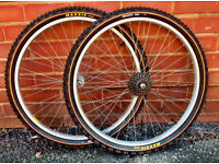 Pair of 26 inch Alloy Mountain Bike Wheels with Maxxis Tyres