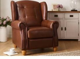 Oak Furniture Land Carson Wing Armchair - Light Brown 100% Leather