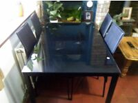 Dining Table & 4 Chairs - Black Glass