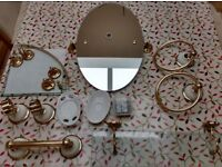 Set of 9 white & gold bathroom accessories complete with fixings - £ reduced