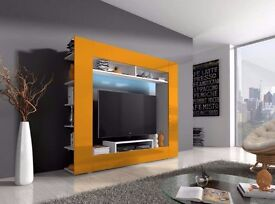 TV Wall unit Vanessa / Free LED / TV stand / Living room furniture / High gloss