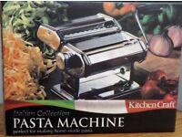 PASTA MACHINE, BAGUETTE BAKING TRAY PLUS MICROWAVE VEG STEAMER