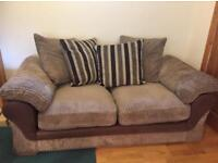 2 seater brown fabric and suede jumbo cord sofa! Can Deliver