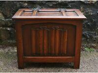Vintage Oak Blanket Box Linenfold