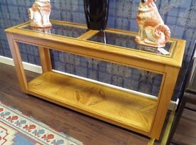 Beautiful Solid Wood Glass Top Console Table - WE CAN DELIVER