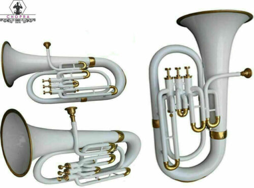 Euphonium 3 Ventile Messing Bb FLAT White & Brass Farbe