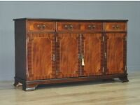 Attractive Wide Vintage Inlaid Mahogany Sideboard, With Cupboards And Drawers