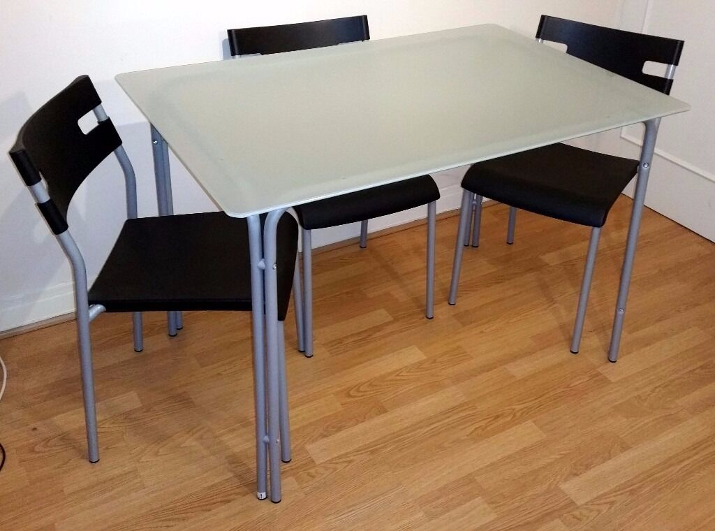 Ikea Laver Frosted Gl Top Dining Table And 4 Chairs Set Collection Only