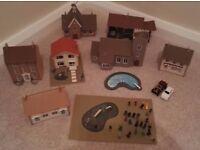 Model Railway Houses and Figures. Cardboard & Wood. Train set village.