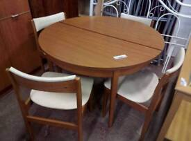 Retro teak Dining table and 4 chairs. Del available