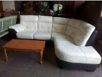 Cream Leather Corner Sofa with Black Skirting