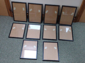 10 x Black A4 size picture certificate frames with glass. New and unused.