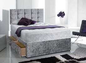 Delivery 7Days a week GOOD Quality Crushed Velvet Double King Bed Mattress Diamante Headboard