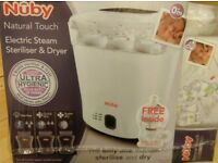 Nuby steam steriliser & dryer with ftee bottles, soothers, wipes etc, brand new, duplicate gift