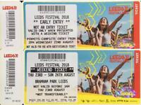 Leeds Festival 2018 Full Weekend Ticket With Camping and Extra Early Entry on Wednesday