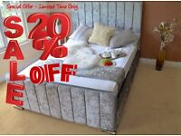 ETON Save Money - Buy Direct - Velvet Upholstered Fabric Bed - Storage 3' Single 4'6 Double 5' King