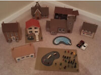 Model Railway Houses and Figures. Cardboard & Wood. Train set village. Collect Only.