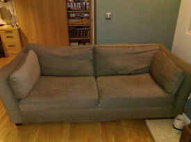 Fabric Sofa Bed Double 4 Seater Brown Settee Large Couch