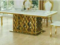 Italian marble dining table with 8 chairs