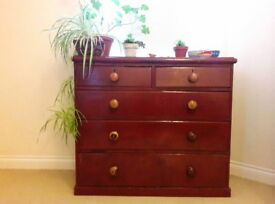 Dresser/chest of drawers, solid wood, deep red, distressed look