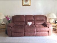 Large 3 seater and 2 seater suede recliner sofa