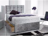 Delivery7Days aWeek GOOD Quality Crushed Velvet Double King Bed Luxury Mattress Diamante Headboard