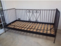 Stylish IKEA Day Bed/Sofa Wrought Iron in Black, In V.G.C