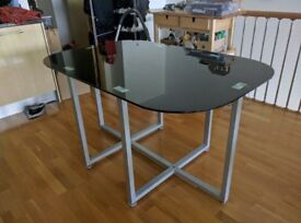 Black glass Charles Jacobs 6 seater dining table