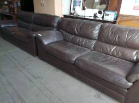 Brown leather sofa set in good condition. Delivery available