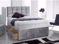 🔴🔵Brand New🔴🔵 4ft6 Double/5ft King size Crush Velvet Divan Bed Bases with Mattress- Black Silver