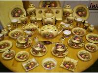 AYNSLEY, FINE BONE CHINA, IN ORCHARD GOLD PATTERN, LARGE COLLECTION,