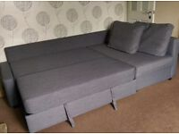 Corner sofa/bed grey with storage