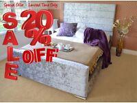 NEWBURY Save Money Buy Direct - Velvet Upholstered Fabric Bed - Storage 3' Single 4'6 Double 5' King