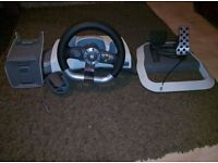 Microsoft Xbox 360 steering wheel and pedals