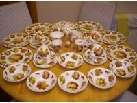 LADY BETH FINE BONE CHINA DINNER SERVICE, WITH VARIOUS FRUIT DESIGNS, ON WHITE PORCELAIN BACKGROUND