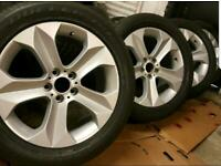 "19"" BMW X6 X5 alloy wheels nearly new Bridgestone tyres"