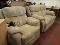 Fabric 2 piece suite with electric reclining chair. Delivery available