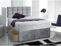 Double crushed velvet divan bed with drawers,mattress and headboard
