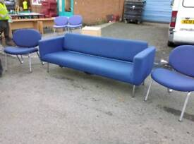 Large reception seating couch with two chairs