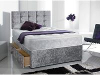 KING SIZE CRUSH VELVET DIVAN BED WITH ORTHO / MEMORY FOAM MATTRESS & HEADBOARD