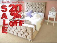 DESIRE Save Money Buy Direct - Velvet Upholstered Fabric Bed - Storage 3' Single 4'6 Double 5' King