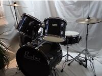 "Black Boston Drum Kit. Gibraltar Kick Pedal, 14"" Peavey Hi-Hat Cymbals and 16"" Unbranded Crash"
