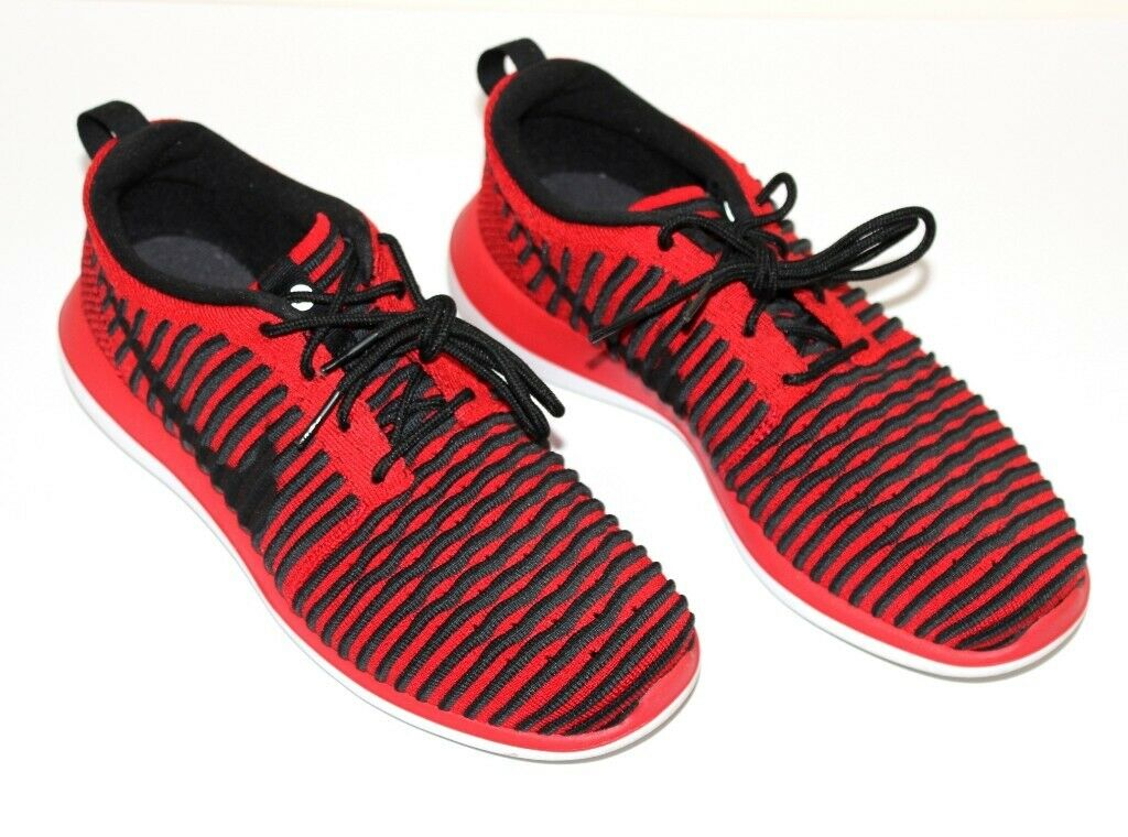 f432d3a33368 Nike Roshe Two Flyknit UK Size 5 Red Black Kids Womens Running Shoes  844619-600