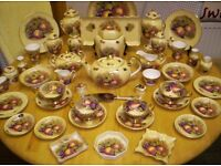 AYNSLEY FINE BONE CHINA, LARGE COLLECTION, IN ORCHARD GOLD PATTERN