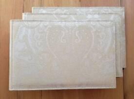 NEW Wedding Photo Albums 3 - Trio Set Ivory Gold Lurex Embroidery Fabric Bridal Bride Photographs