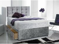 Can Deliver Today GOOD QUALITY Crushed Velvet Single Double King Bed Luxury Mattress & Headboard