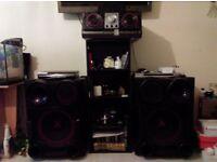 Mini hifi with big speaker and dj mixer