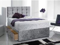Deliver Today Crushed Velvet Double Bed Memoryfoam Mattress and Diamante Headboard PayON Delivery