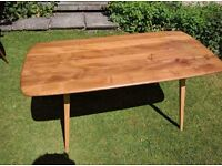 Mid Century Blonde Elm and Beech Ercol Plank Table, re-furbished top.