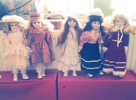 Porcelain dolls, 40cm - Heritage Mint x 5
